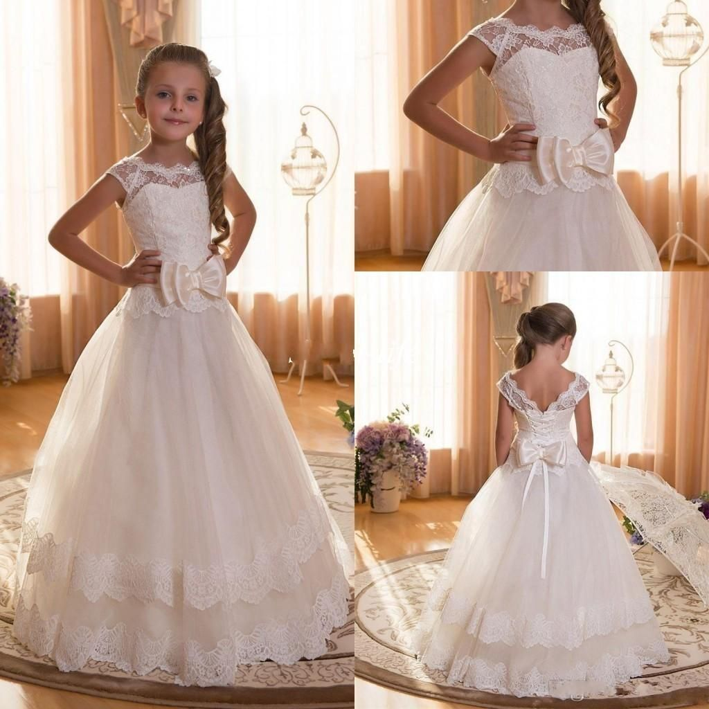 Princess White Lace Flower Girl Dresses For Weddings Crew Neck Appliques  Cap Sleeves Children Tutu Dress For Girls Wedding Party Gowns 7c0514d839e7