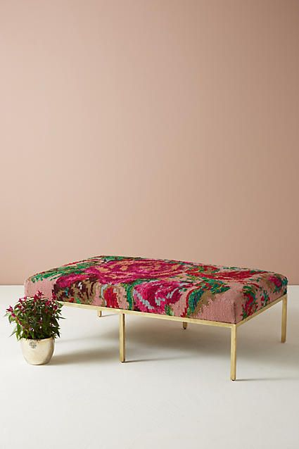 14 Unexpected Ways To Upgrade Your Living Room In 2020: Anthropologie Floral Silk Carpet Ottoman In 2020