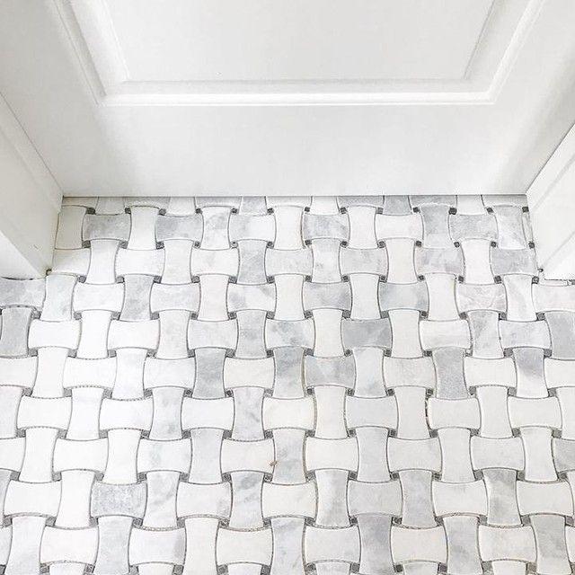 White And Grey Hue Bathroom Floor Tile Hampton Delray Marble