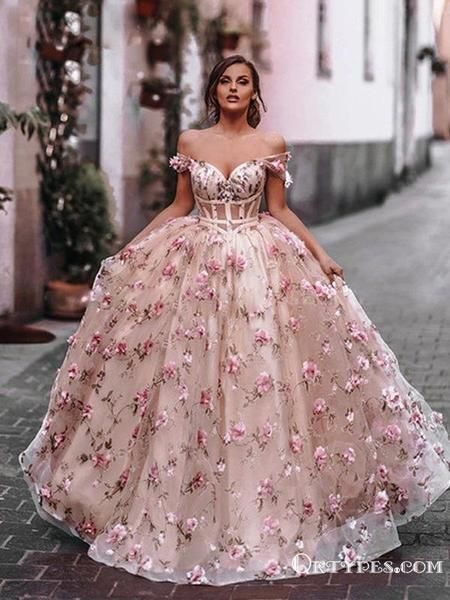 Ball Gown Off-The-Shoulder Charming Newest Pink Tulle Handmade Flower Appliqued Long Cheap Prom Dresses, PDS0027