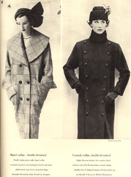 Hardy Amies check barrel coat with large shawwl collar and Digby Morton military style with Persian Lamb collar. September 1950.