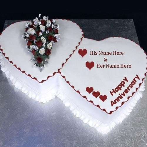 Heart Shape Anniversary Cake Wishes Image With Name Editing Rupesh