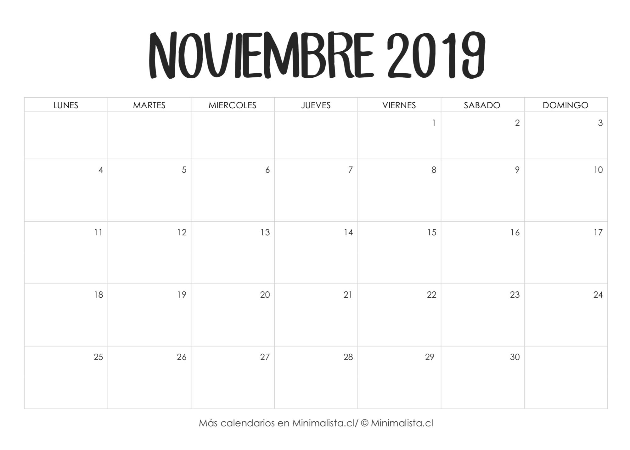 Calendario Diario 2019.Calendario Noviembre 2019 Para Imprimir Manualidades