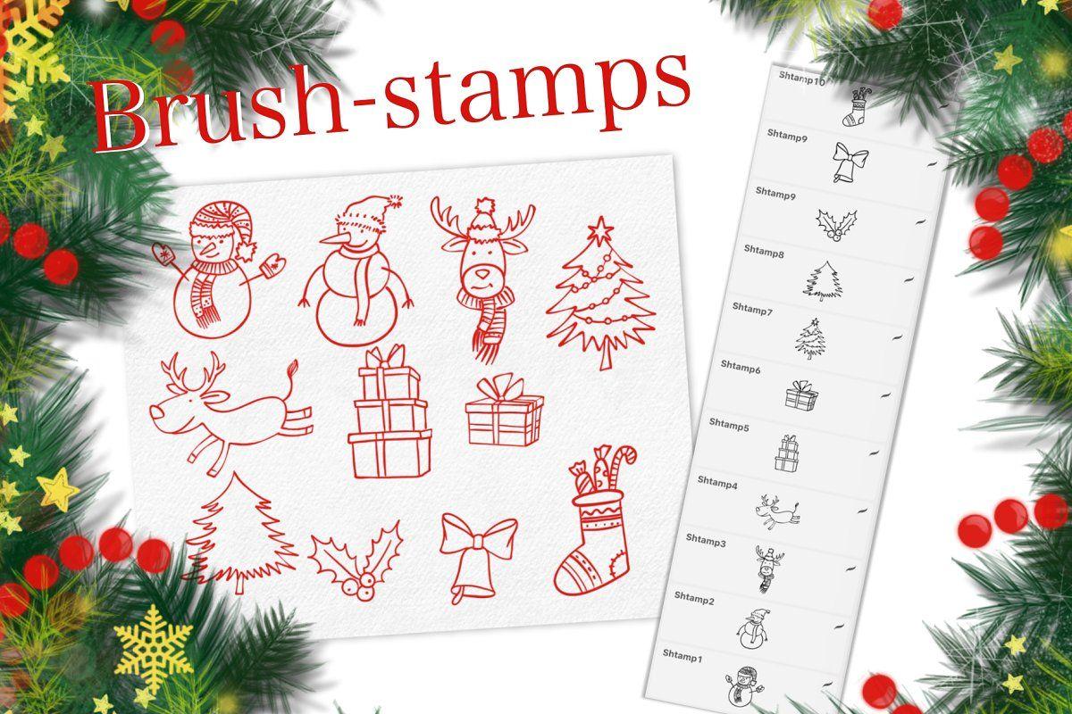 Christmas Procreate Brush Set In 2020 Procreate Brushes Christmas Icons Business Icons Design