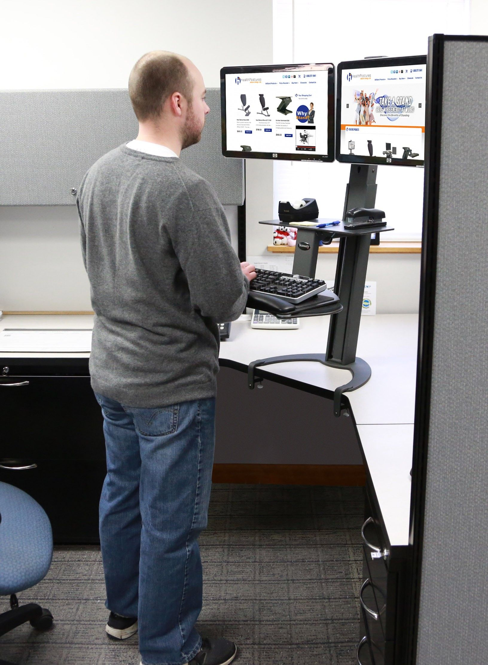 Taskmate Go Sit To Stand Desk W Dual Monitor Arm Desk Standing Desk Business Furniture