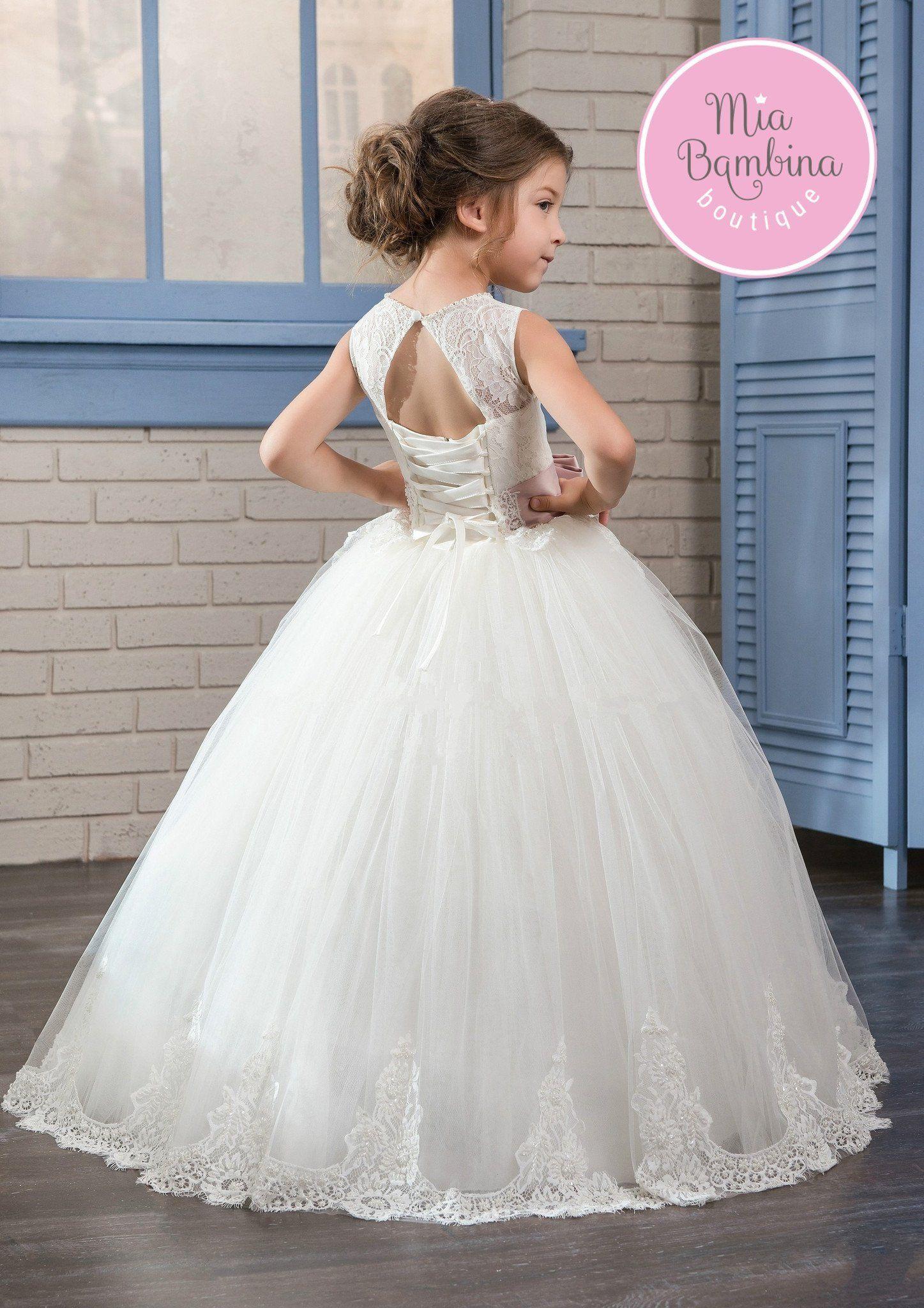 3/4 length lace wedding dress  Cincinnati  dina promo  Pinterest  Dresses Flower girl dresses