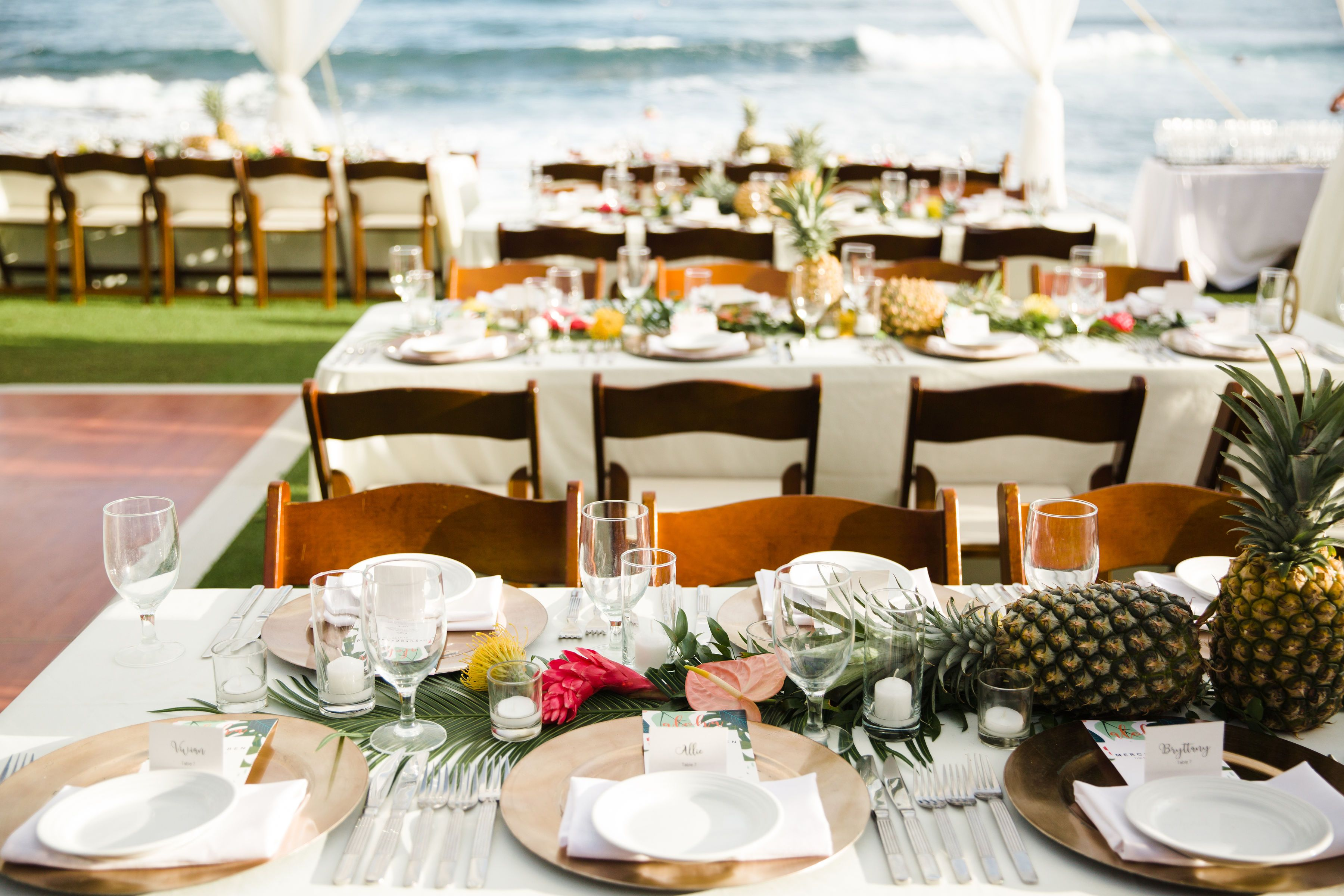 Table Decor Palm Runners With Tropical Floral Dotting And