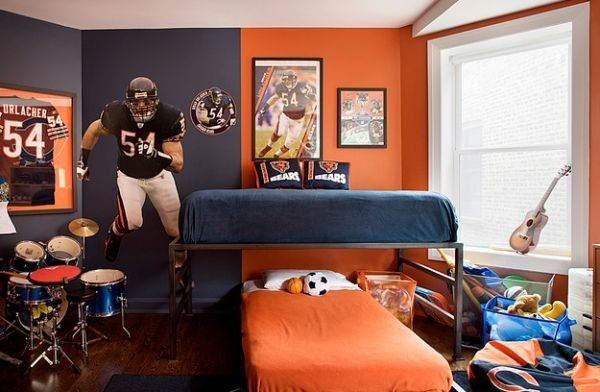 Orange and blue bedroom for the sports fanatic!   Boys room paint ...