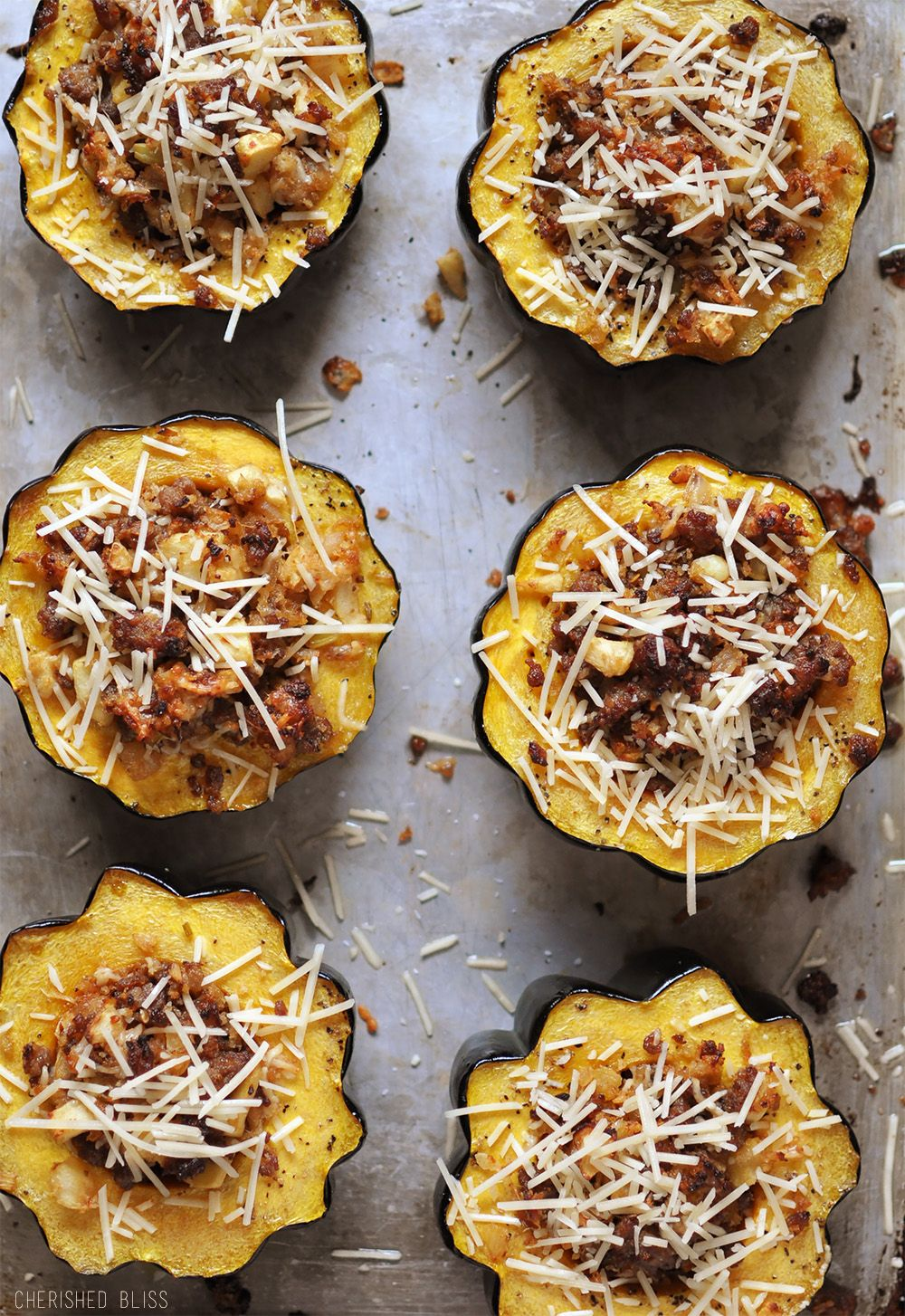 Sausage and Apple Stuffed Acorn Squash - Cherished
