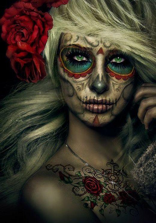 dia de los muertos maquillage halloween pinterest halloween damen und kost m. Black Bedroom Furniture Sets. Home Design Ideas