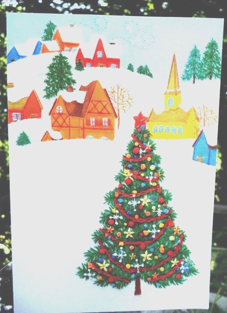 Vintage 1980s Hallmark Christmas Card Snow Covered Christmas Village ...