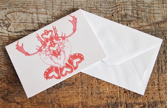 Reindeer Christmas Card  Folky Red Reindeer by Gx2homegrown, £2.50  Love this