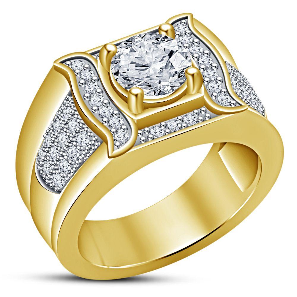 10k Yellow Gold Finish White Diamond Engagement Designer Mens Band