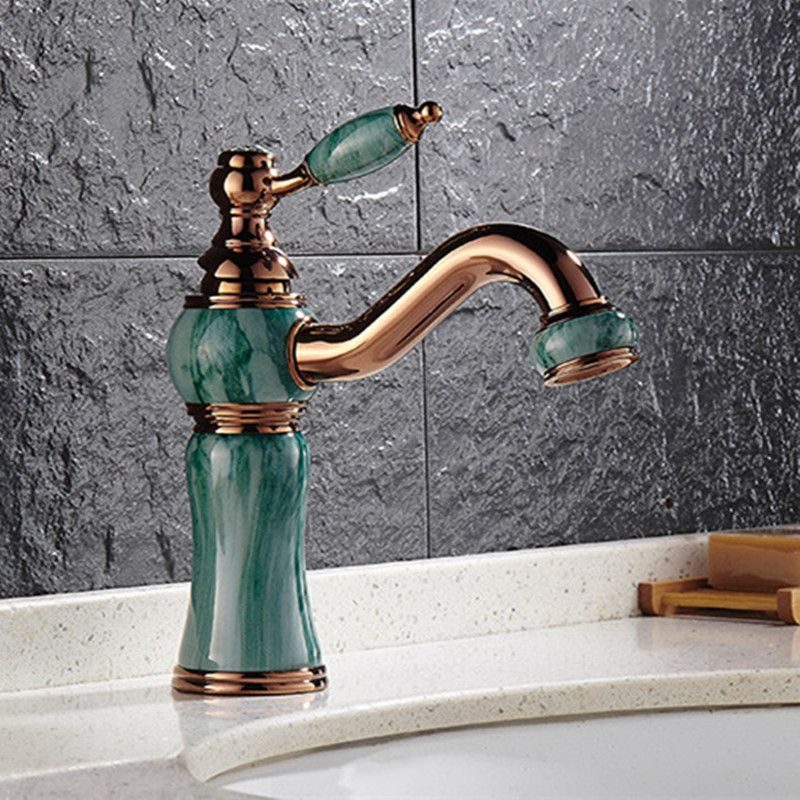 Free shipping Hot sale stone gold bathroom basin faucet with solid ...