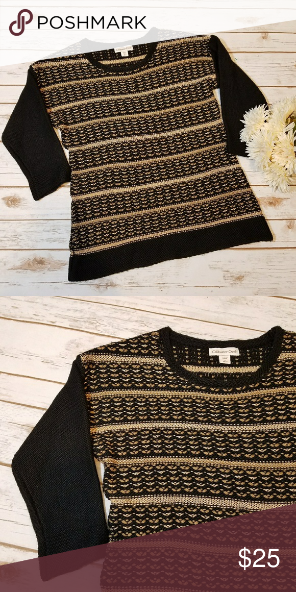 Black and Gold Stripe Sweater Coldwater Creek EUC black and gold striped sweater with 3/4 sleeves Coldwater Creek Sweaters Crew & Scoop Necks