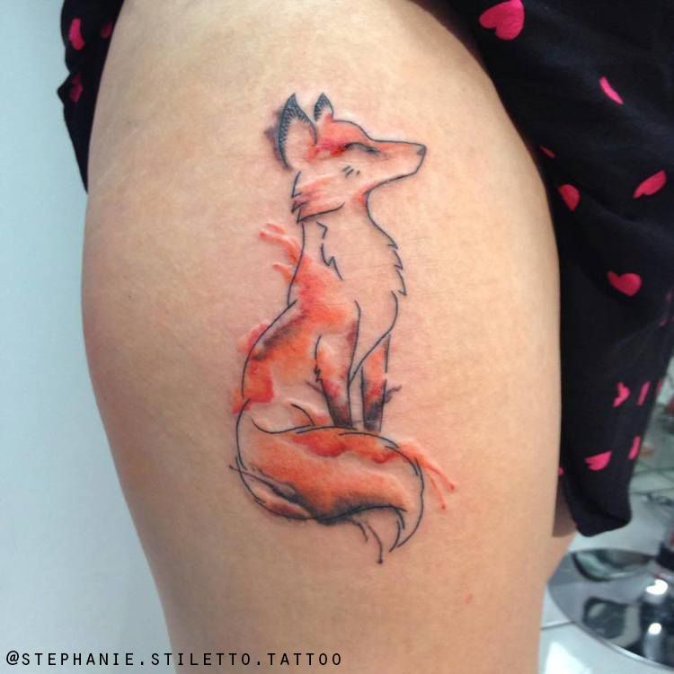 Stephanie stiletto watercolour tattoo fox blackwork line for Stili tetto tetto