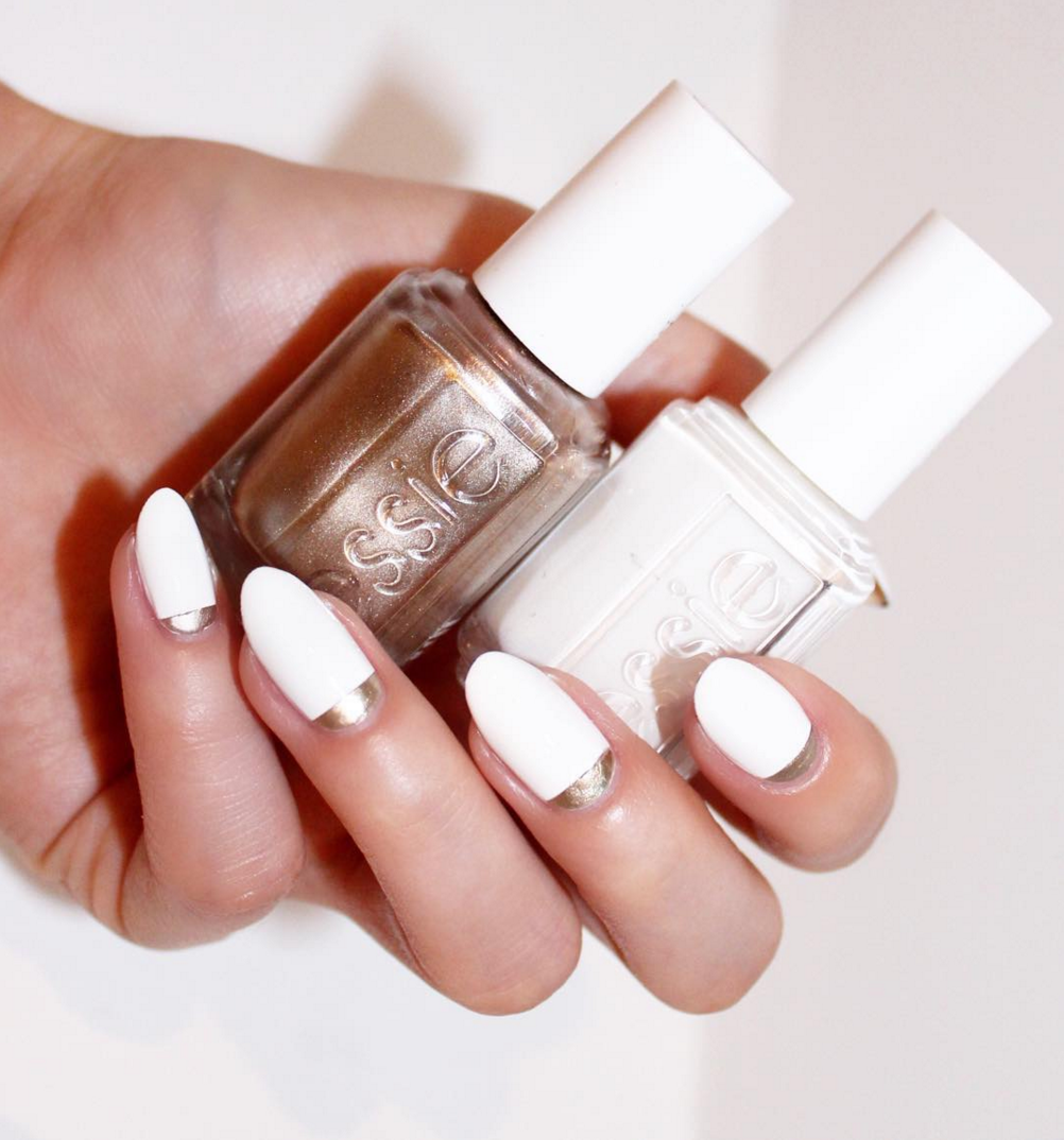essie \'blanc\' with \'good as gold\' | • p o l i s h e d • | Pinterest ...