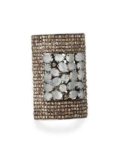 Champagne Diamond & Aquamarine Shield Ring