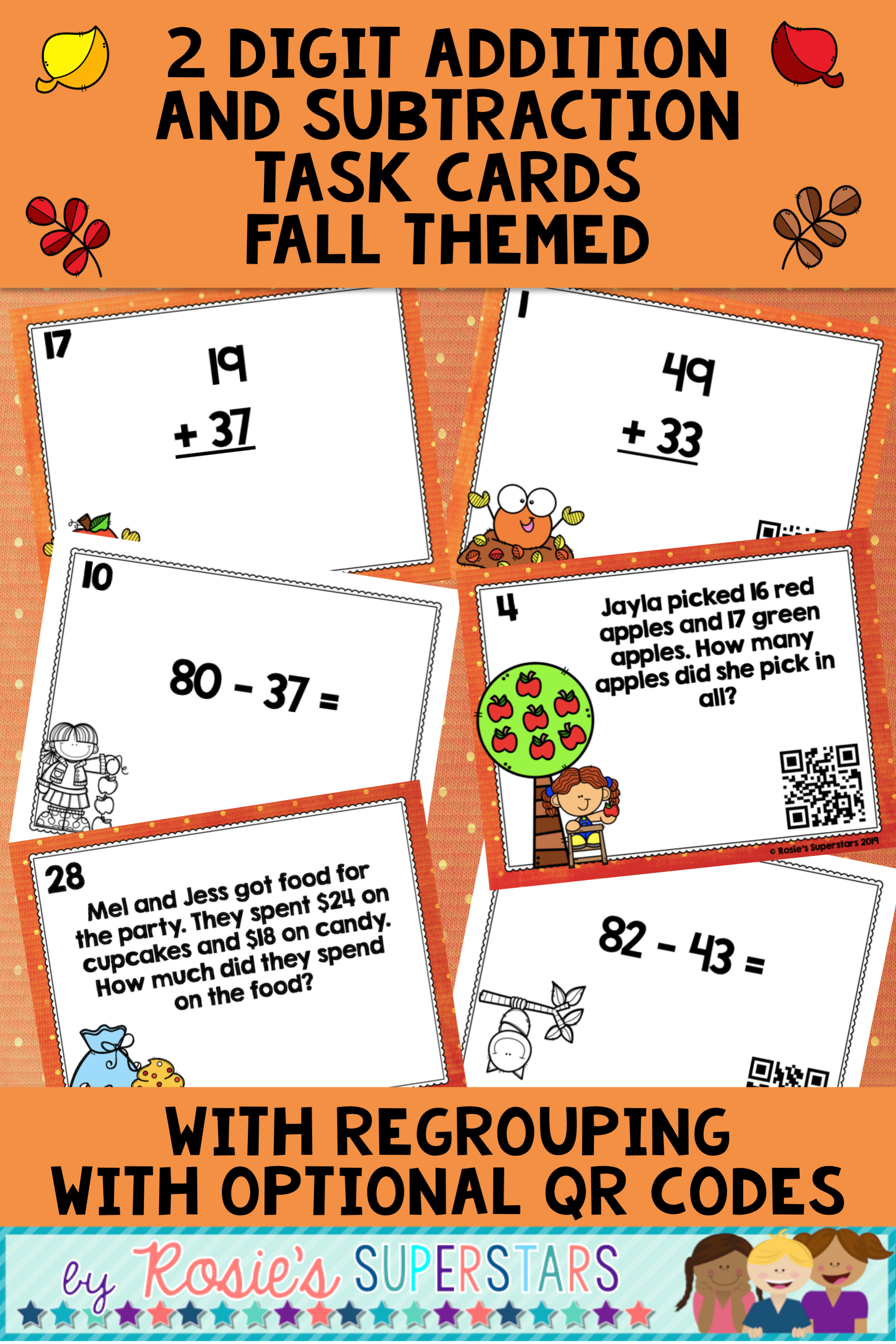 Fall Themed 2 Digit Addition And Subtraction With