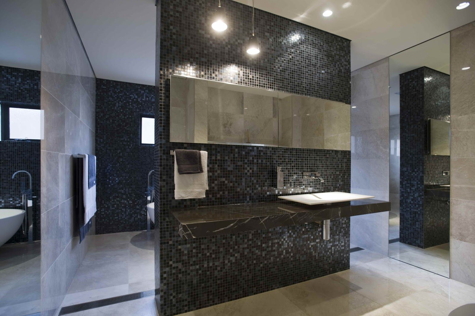 Minosa Design: Large open bathroom feature the stunning Bisazza Iside mosaic