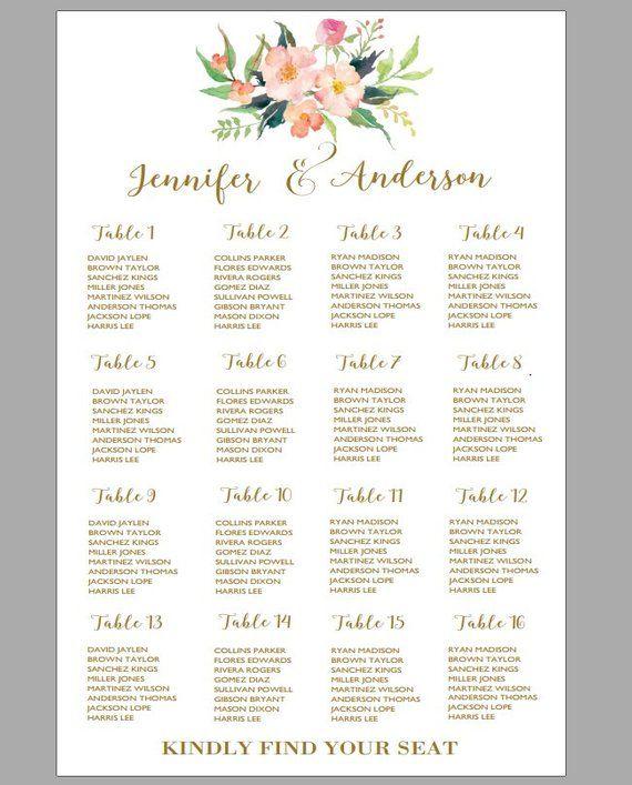 Printable Wedding Seating Chart Poster Seating Chart Sign Wedding Table Plan Vertical Seating Chart Alphabetical Seating Chart Board