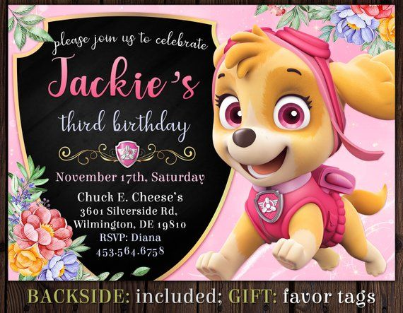 Paw Patrol SKYE Invitation Birthday Girl Pink Pa