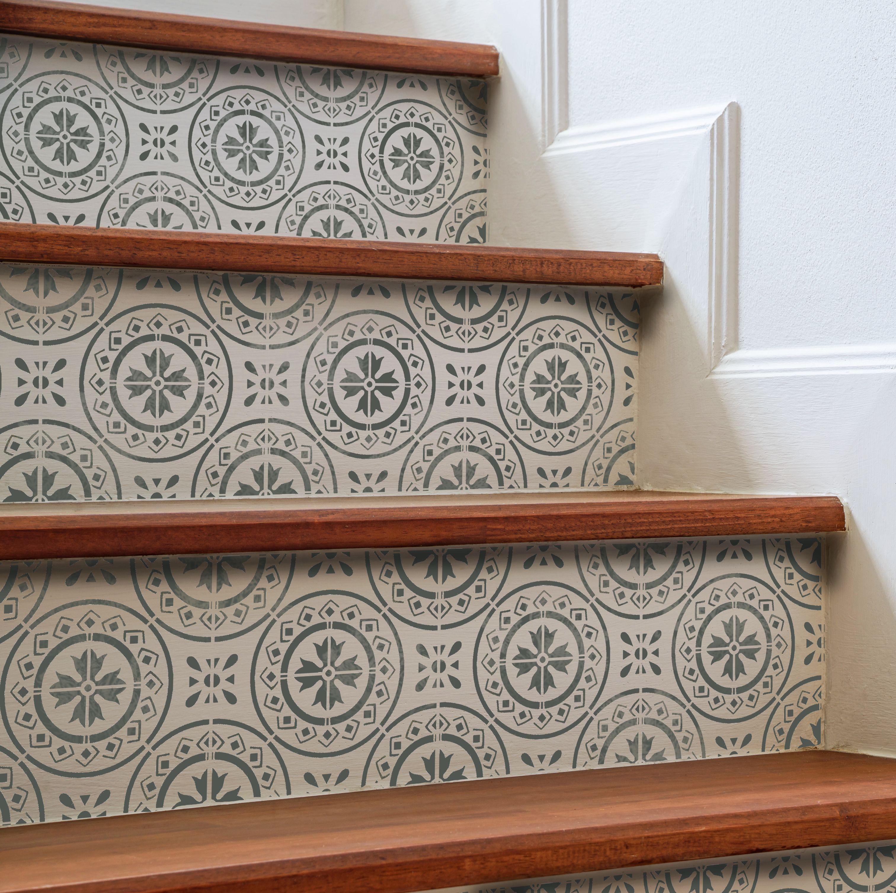 Morello mediterranean tile stencil stenciled stairs pinterest morello mediterranean tile stencil dailygadgetfo Image collections