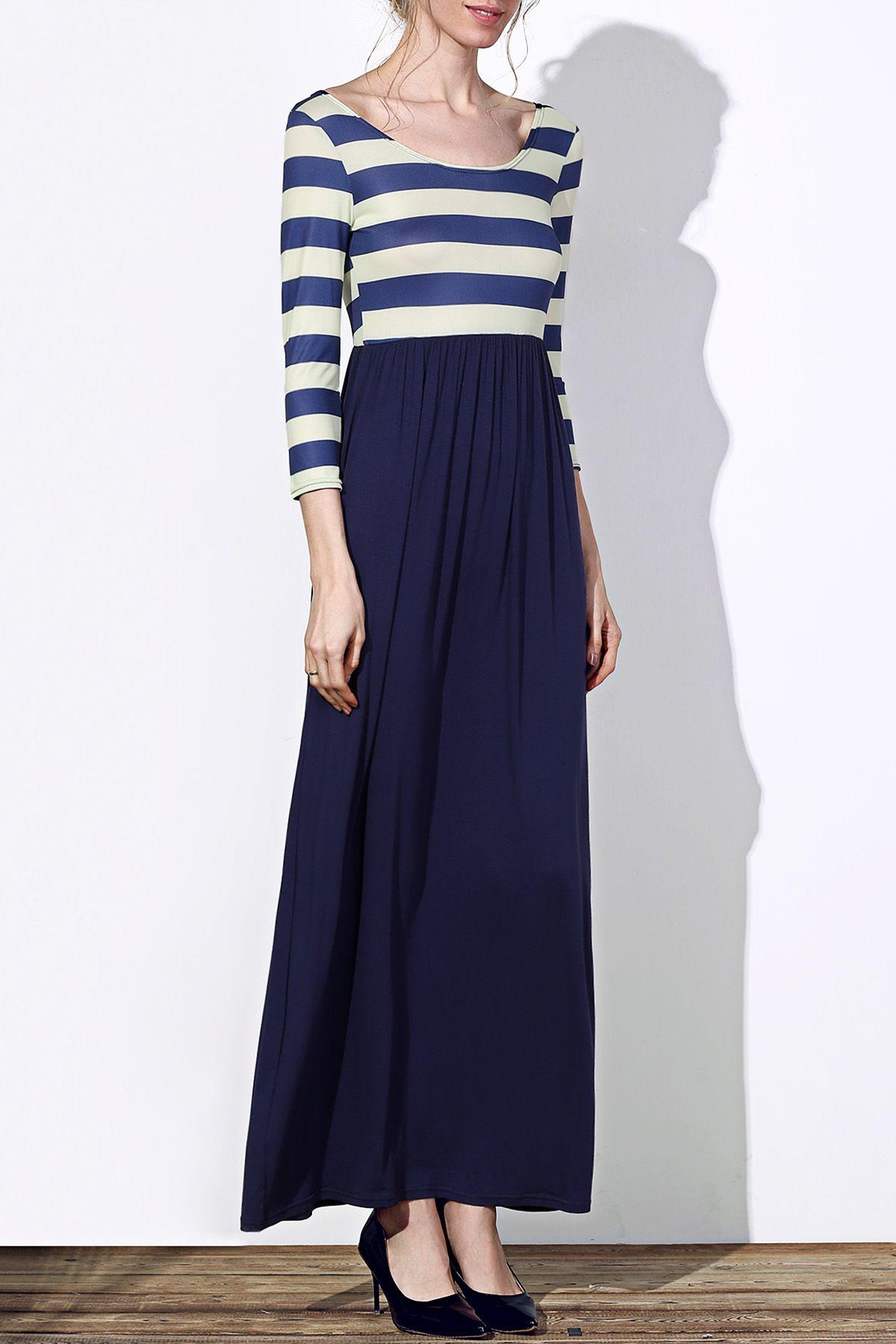 Trendy sleeve scoop neck striped womenus maxi dress scoop neck