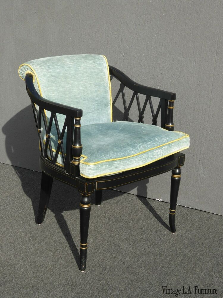 Vintage Black Gold Hollywood Regency Accent Chair With Blue