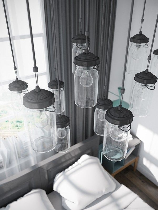 Stylish scandinavian apartment in murmansk the mason jar inspired lighting is totally on trend