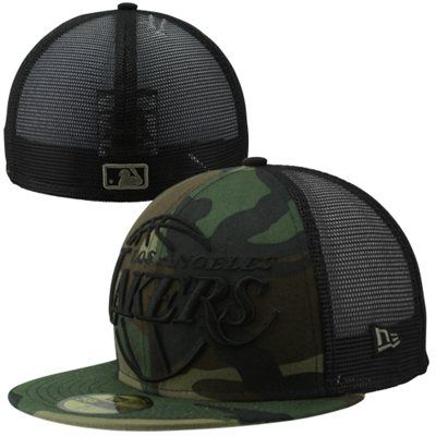 30284ca1 New Era Los Angeles Lakers 59FIFTY Woodland Camo Mesh Fitted Hat - Camo/ Black