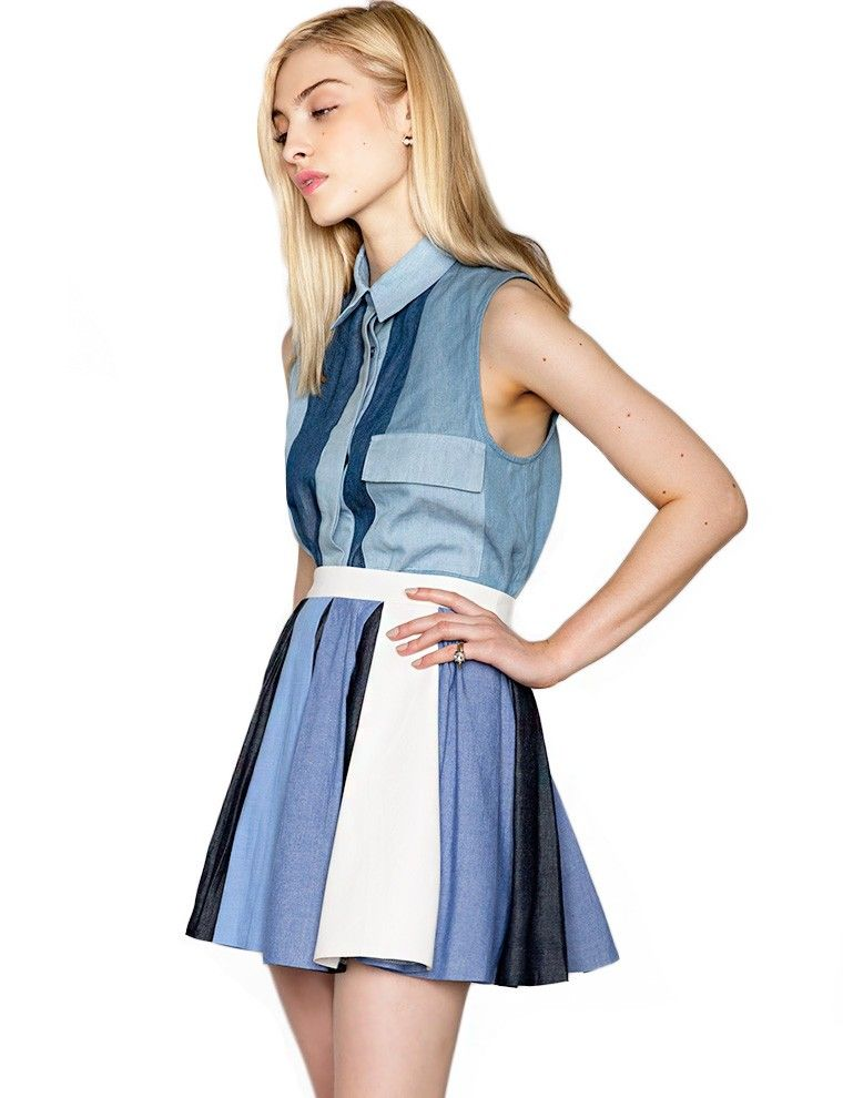 Denim Pleated Skirt -Cute Summer Skirt -$58 i am in love with this skirt