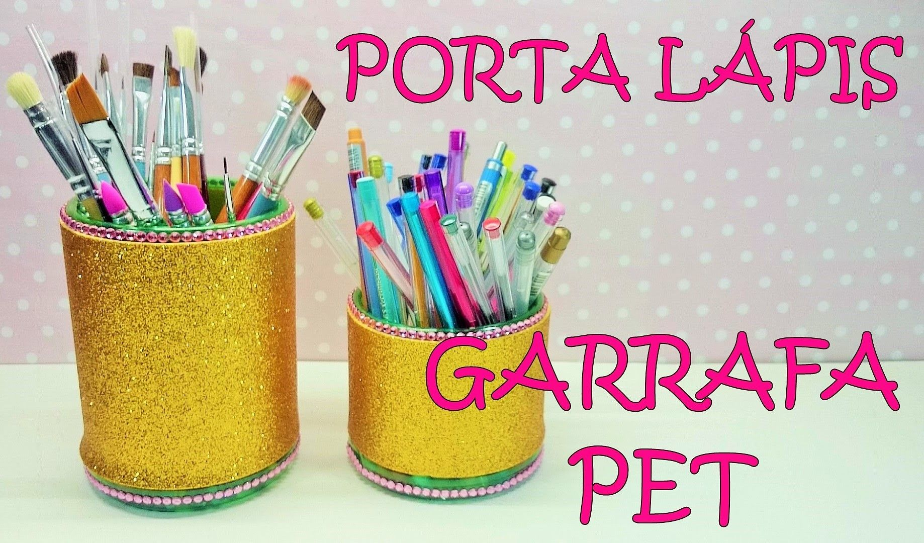 DIY PORTA LÁPIS RECICLANDO GARRAFA PET porta lapis reciclavel Reciclando garrafa pet  # Decoração De Festa Com Garrafa Pet