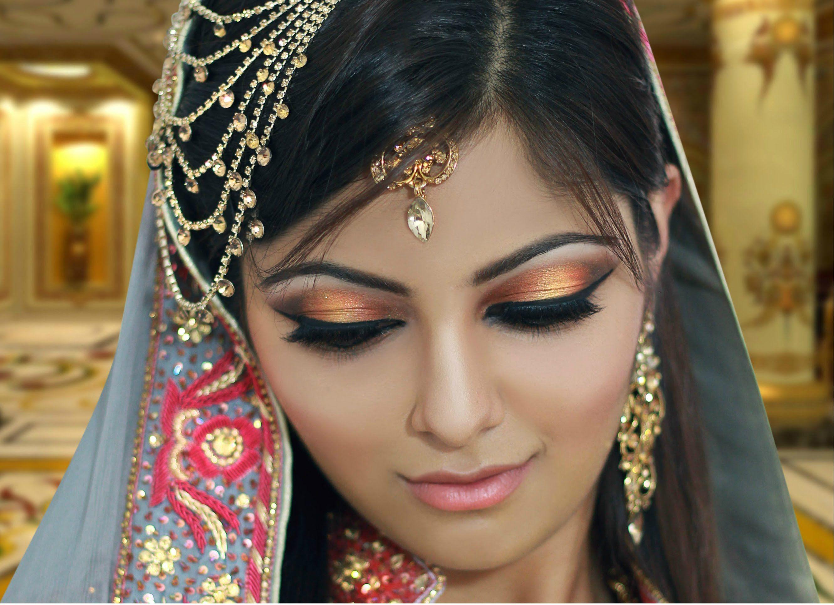gold and peach mehndi makeup tutorial - indian bridal /asian