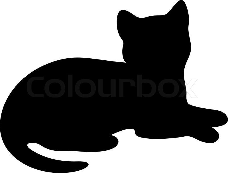 Katze Auf Dem Boden Liegend In Schwarz Silhouette Liegende Katze Silhouette Tolle Katzen Silhouette Katze Applikation Schnittmuster Fur Stofftiere