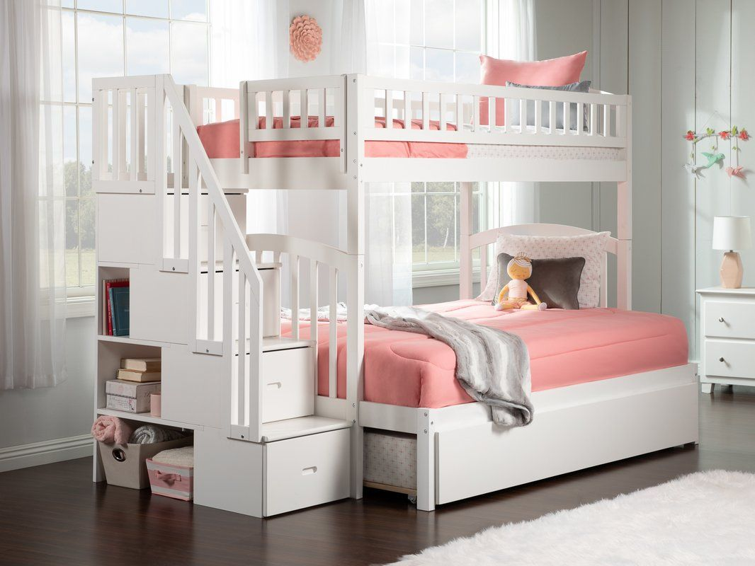 Best Salem Staircase Twin Over Full Bunk Bed With Shelves 640 x 480