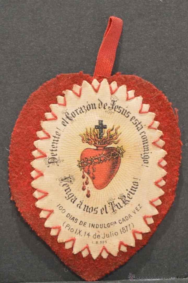 Antiguo Escapulario Del Sagrado Corazón De Jesús 1877 Adoración Pio Ix Corazon De Jesus Sagrado Corazon Sagrado Corazon De Jesus