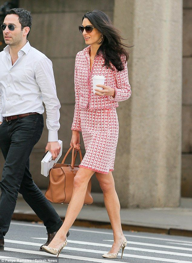 Amal Clooney wears chic mini-skirt at Columbia University