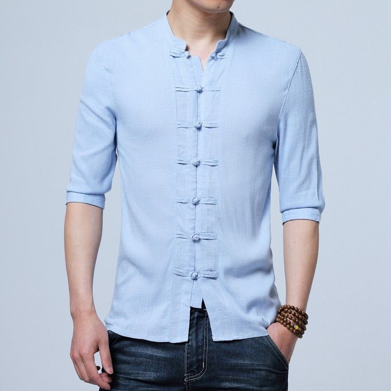 0bfefc392 Charming Frog Button Chinese Tang Shirt - Light Blue - Chinese Shirts &  Blouses - Men
