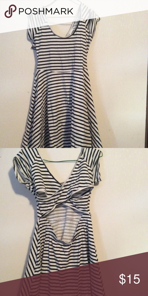 Pink Victoria S Secret Dress Size P White And Navy Blue Striped By Top Of Shoulder To Bottom 30 Armpit