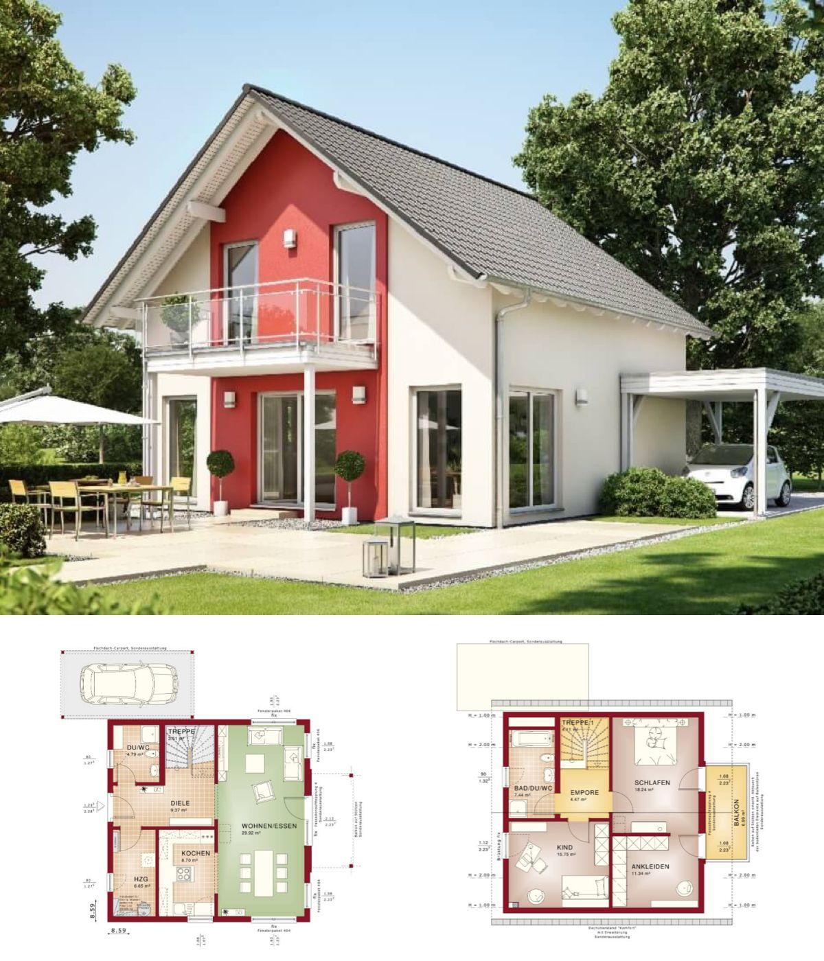 Fassadengestaltung einfamilienhaus modern satteldach  EINFAMILIENHAUS modern Satteldach - HAUS Solution 125 v5 Living ...