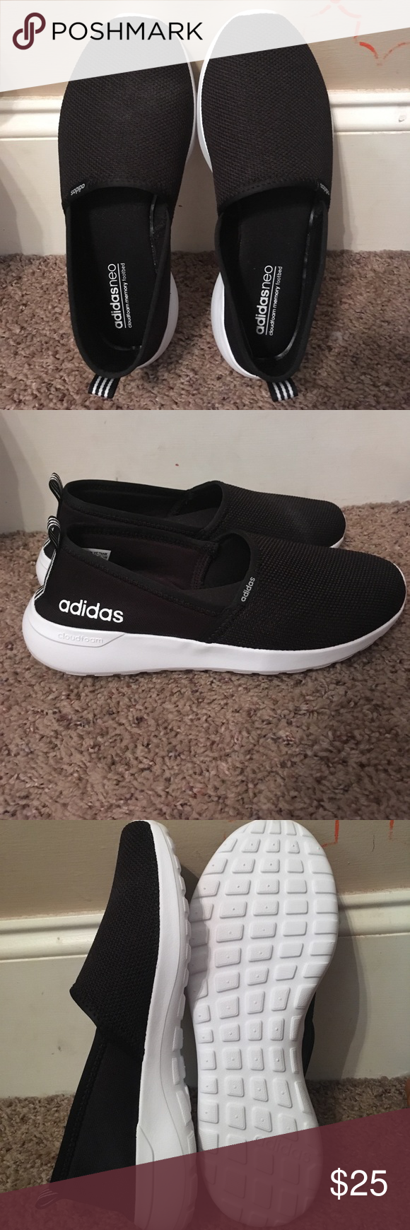 Adidasneo memory foam shoes Black with white sole, memory