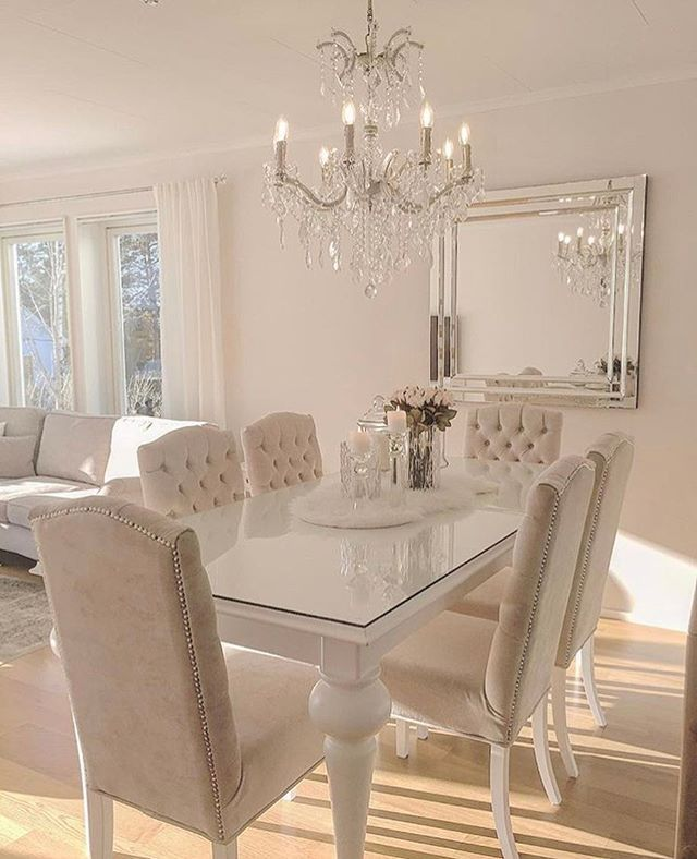 Very monochromatic but beautiful dining room with all the lovely