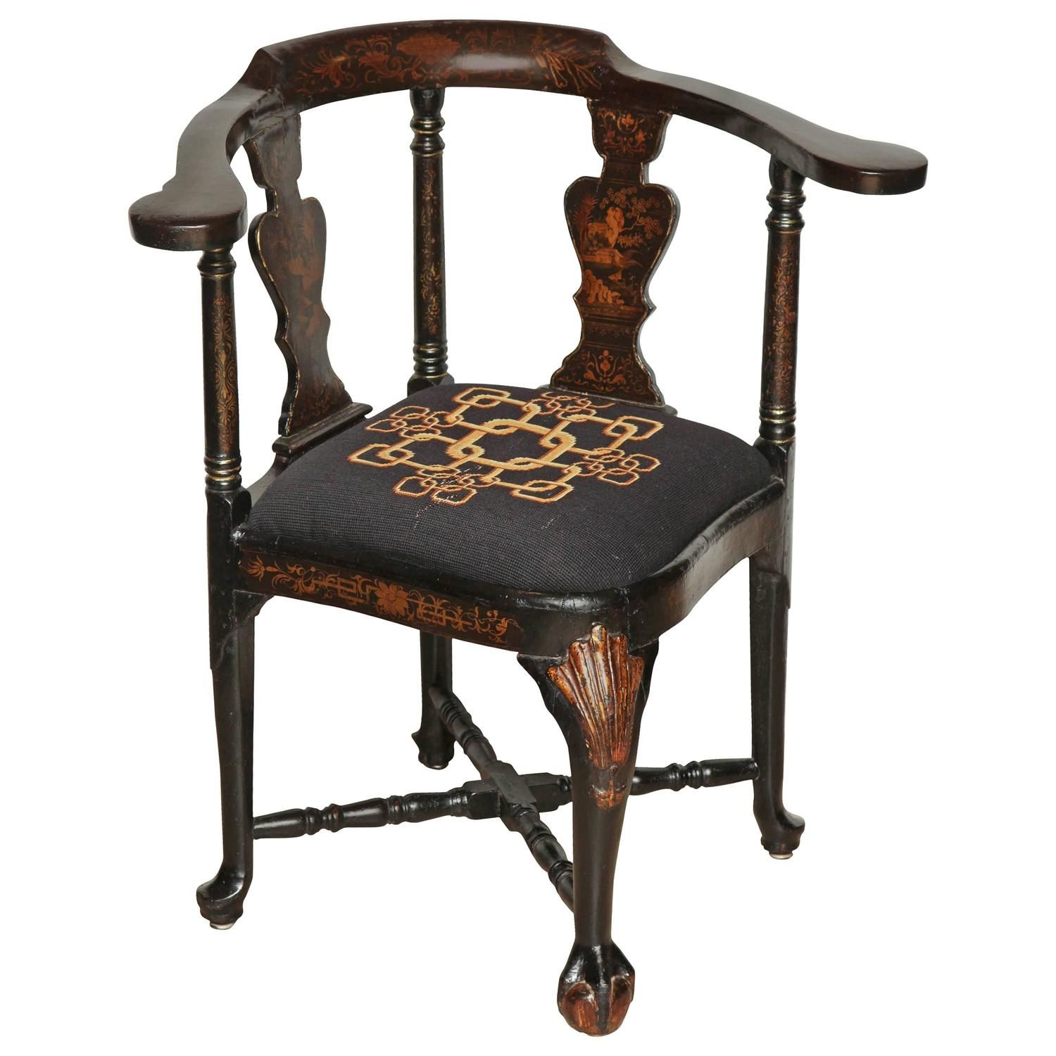 English Chinoiserie Decorated Corner Chair | From a unique collection of  antique and modern corner chairs - English Chinoiserie Decorated Corner Chair From A Unique