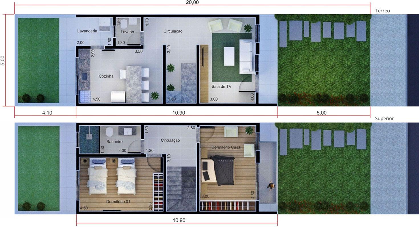 Planta de sobrado simples planta para terreno 5x20 for Modelo de casa 7 x 10