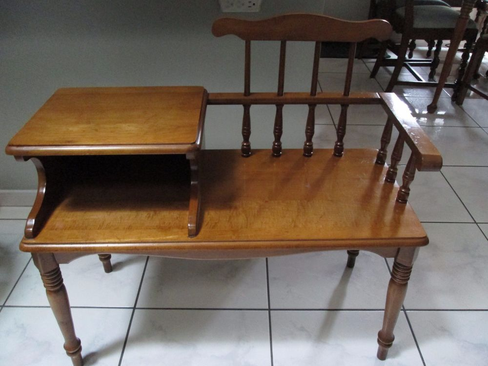 Vintage Mid Century Maple Gossip Bench Telephone Table Antiques Furniture Benches Stools Ebay Telephone Table Gossip Bench Bench Stool