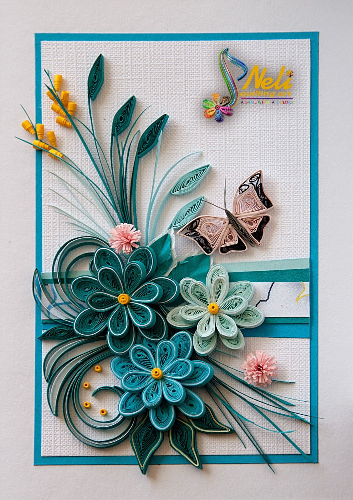 Quilling by neli quilling card 14 8 cm 10 5 cm for Paper quilling designs
