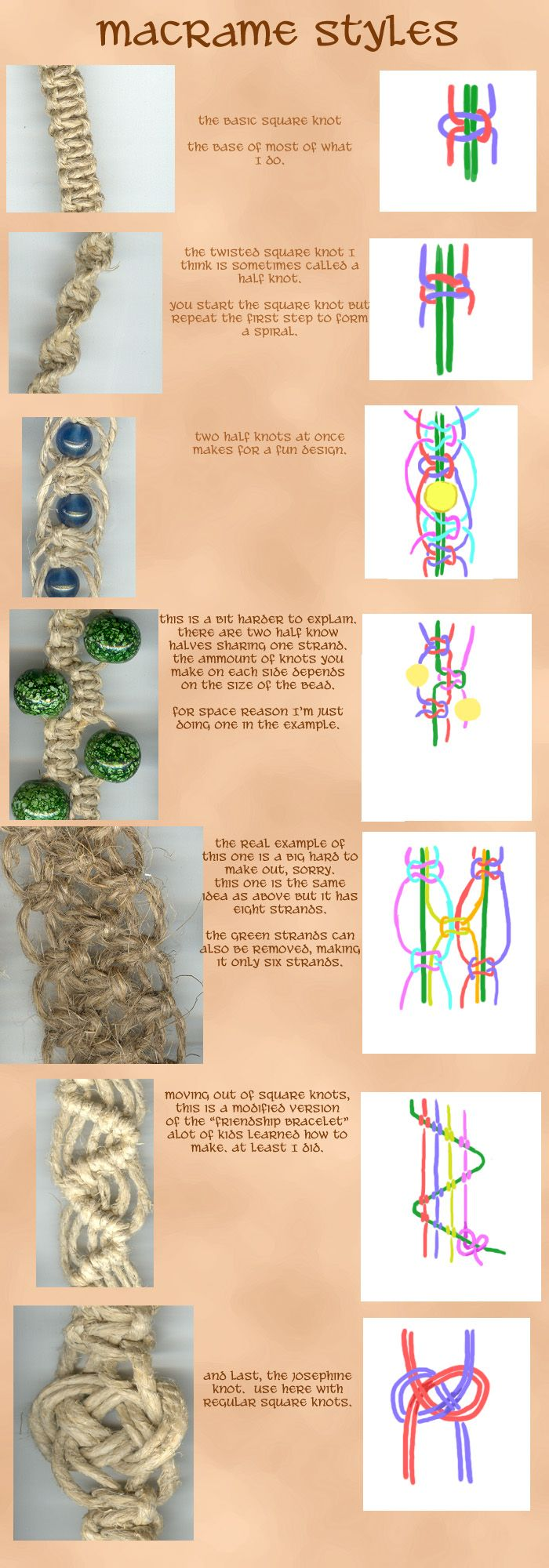 Macrame Styles Have To Make Some Of These Differentones Things Square Knot Diagram