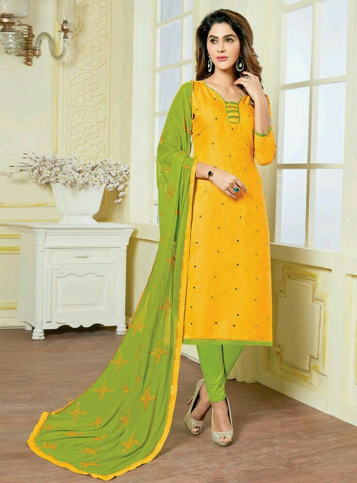 c5092d054 Neck design. Kameej yellow and parrot green.