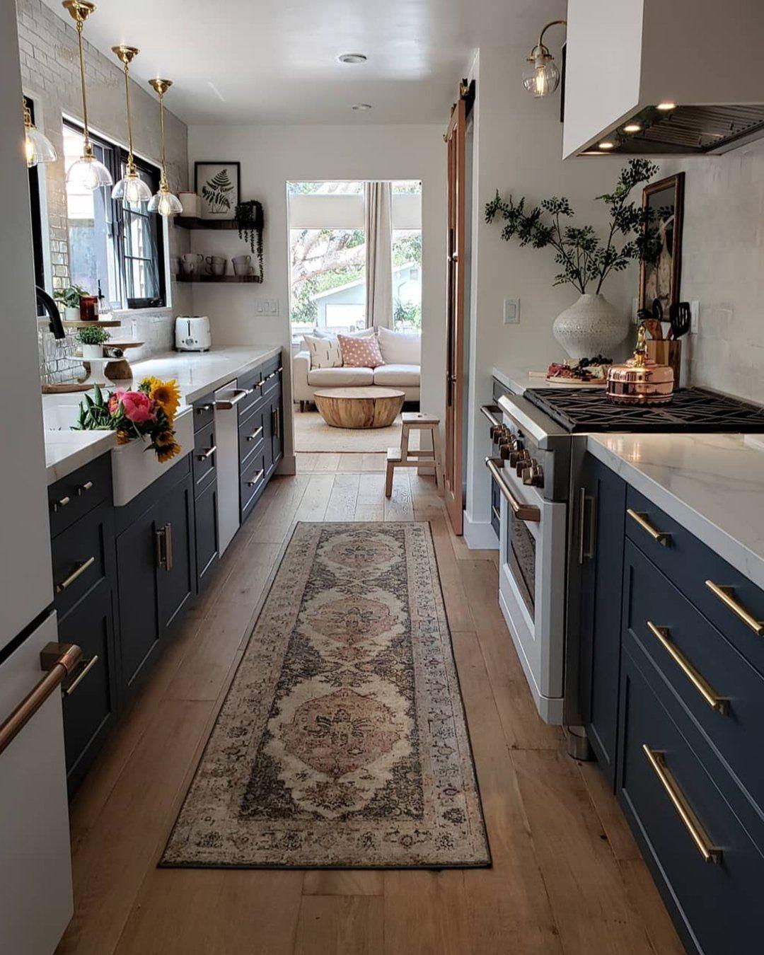 home decor kitchen #homedecor Amazing Galley Kitchen in Dark, Night Sky Shaker Semihandmade